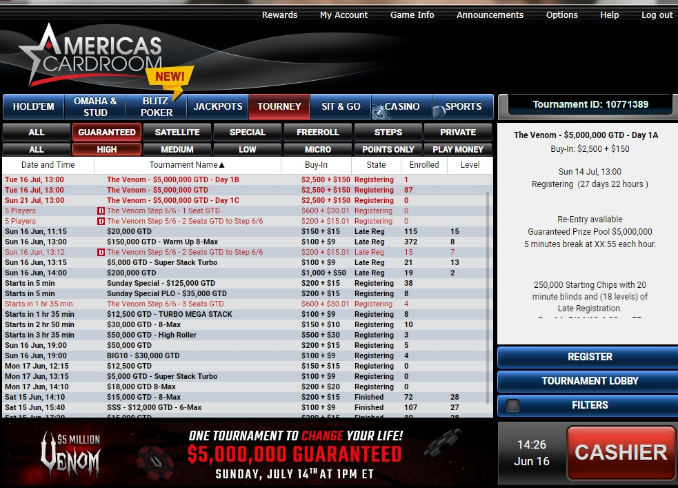 Some of the Sunday High Stakes Tourneys at Americas Cardroom